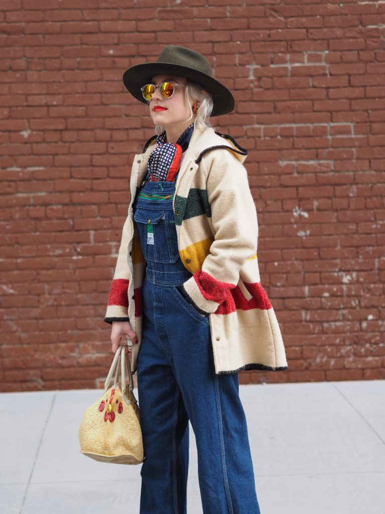 Wearing overalls and vintage Woolrich, click for more!
