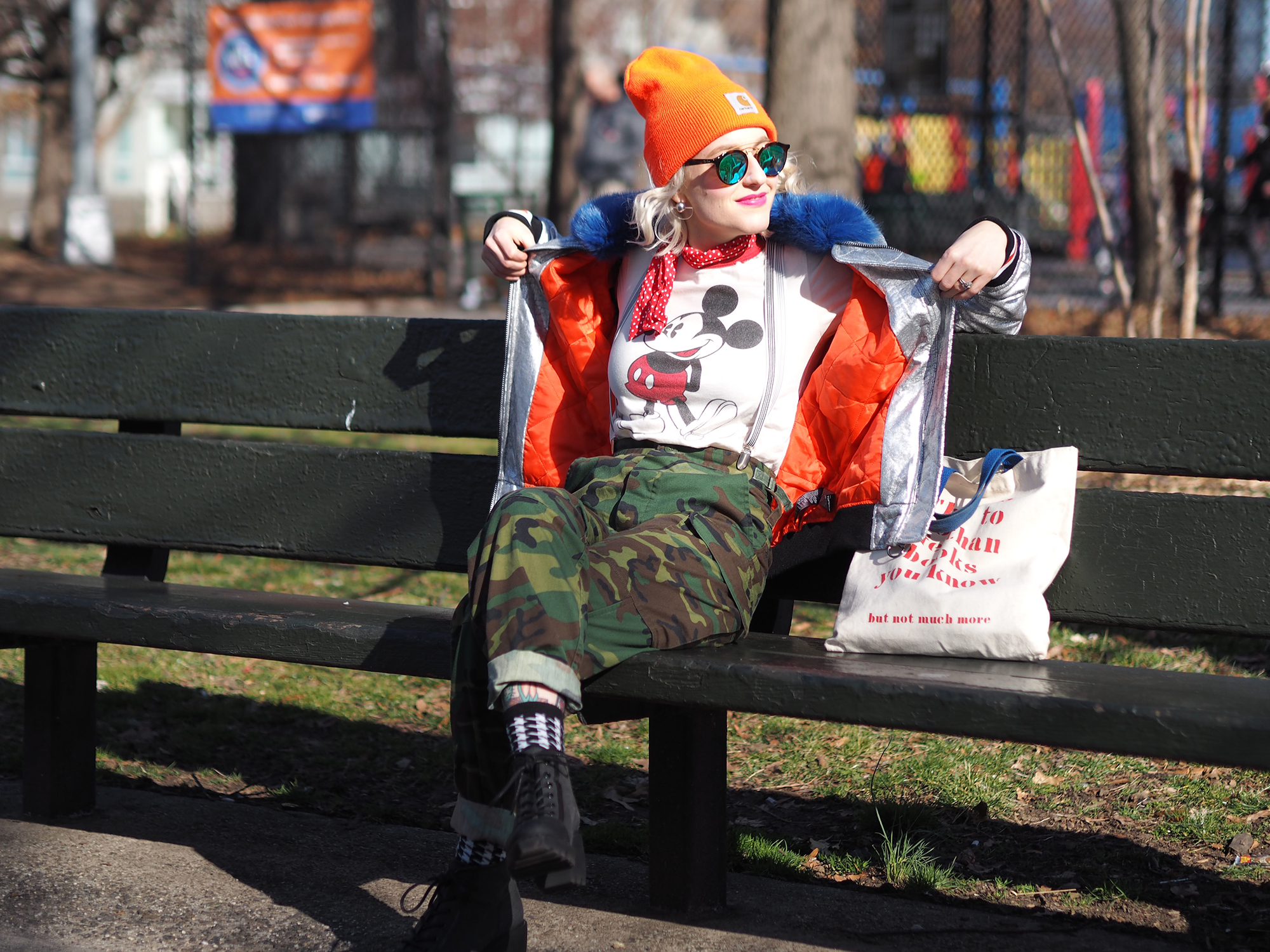 Taking hunter-chic to the streets with this neon knit cap and camo pants. More on the blog!