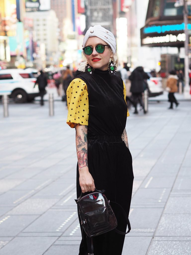 Turban dressing in Times Square wearing Topshop and Asos