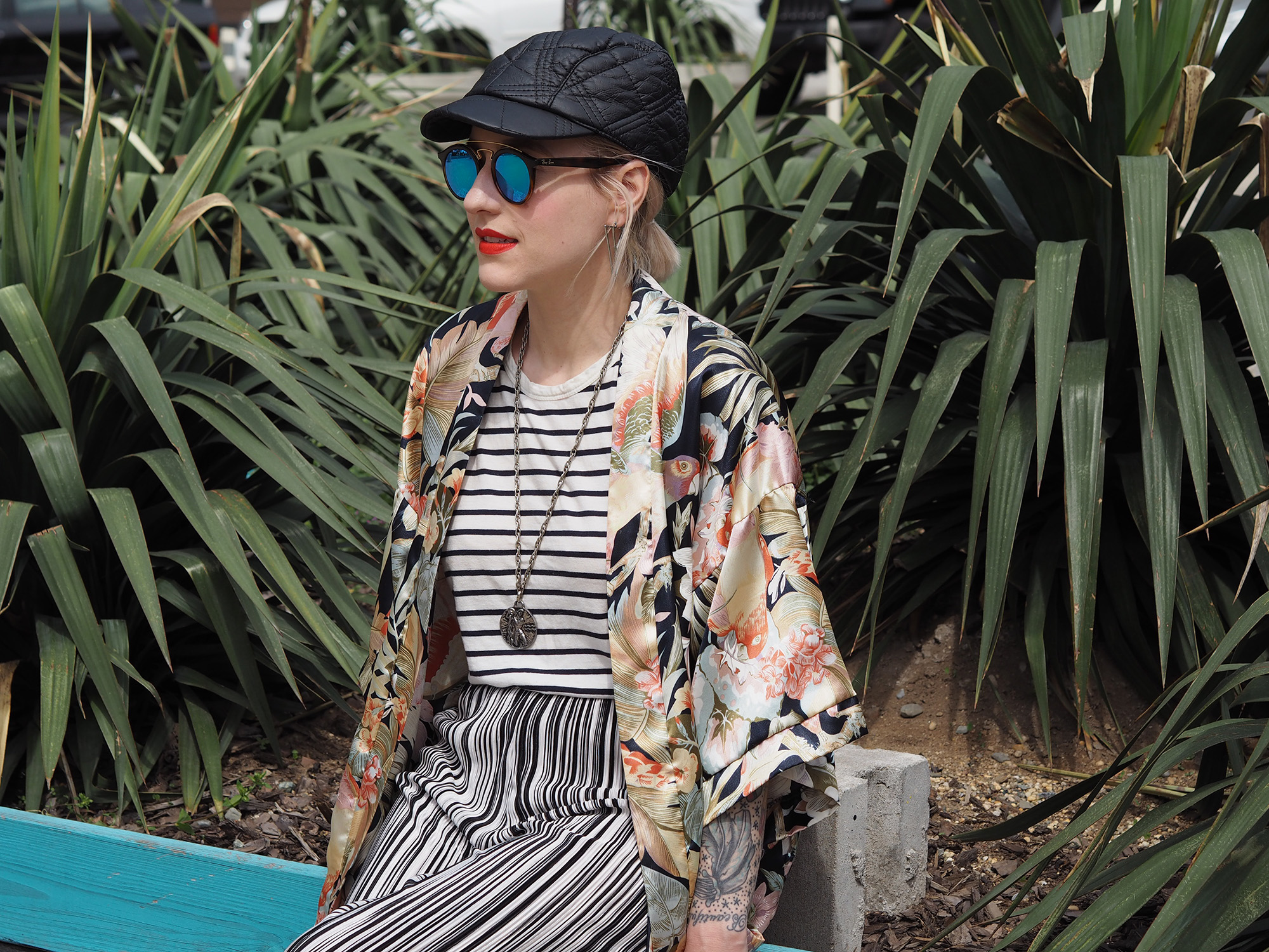 Pattern mixing in stripes and a tropical kimono