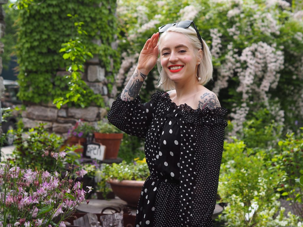 The perfect spring wedding outfit: Polkadots and off the shoulder!