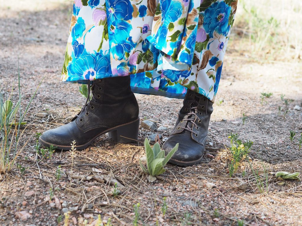 Wearing watercolor florals by Tandem Vintage in Bailey Colorado