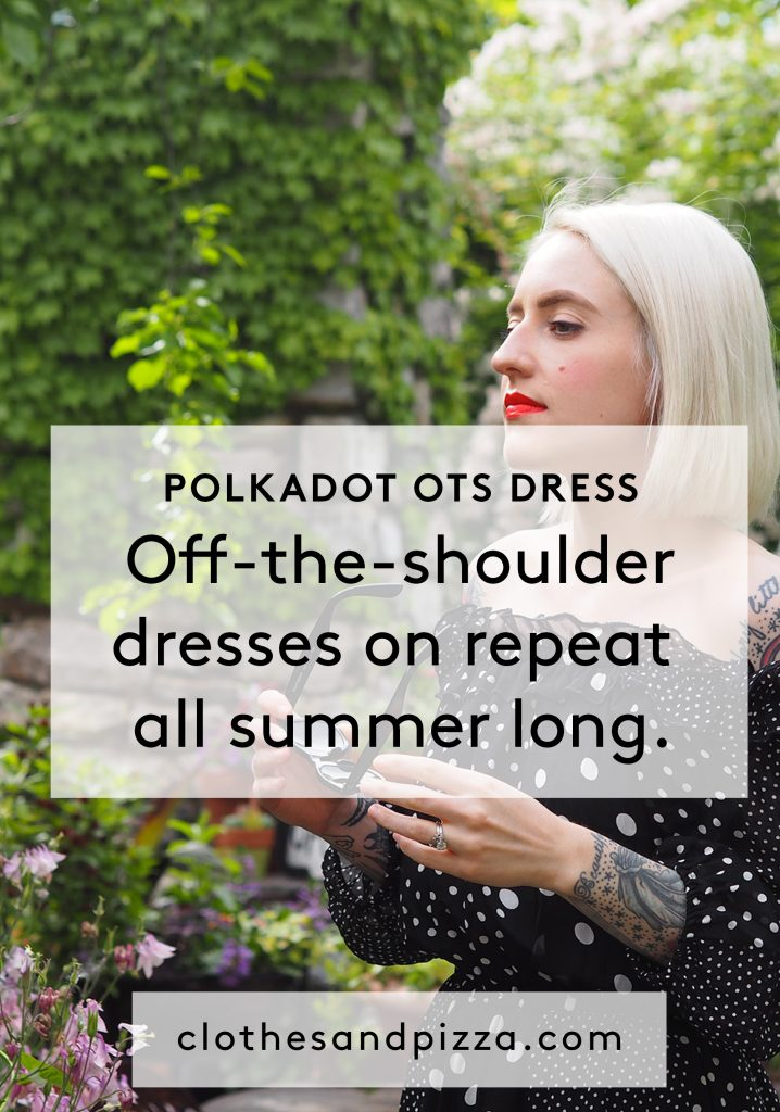 The perfect off-the-shoulder polkadot dress for a spring wedding or summer wedding!