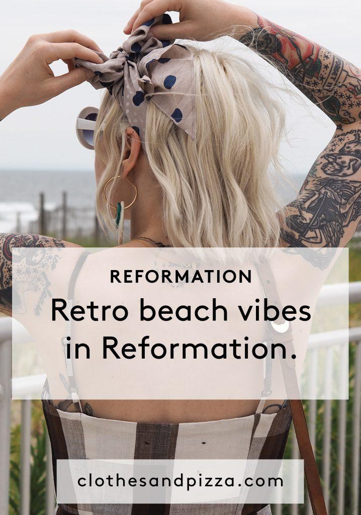 Retro beachy vibes in Reformation at Rockaway Beach.