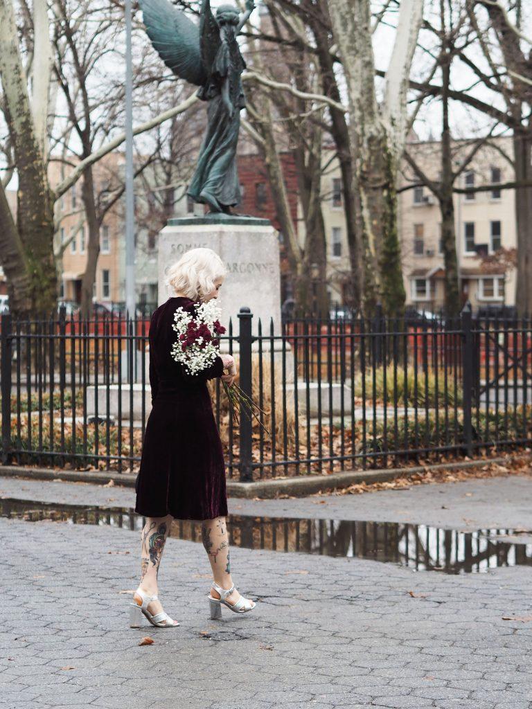 Romantic gothic velvet Valentine's Day outfit