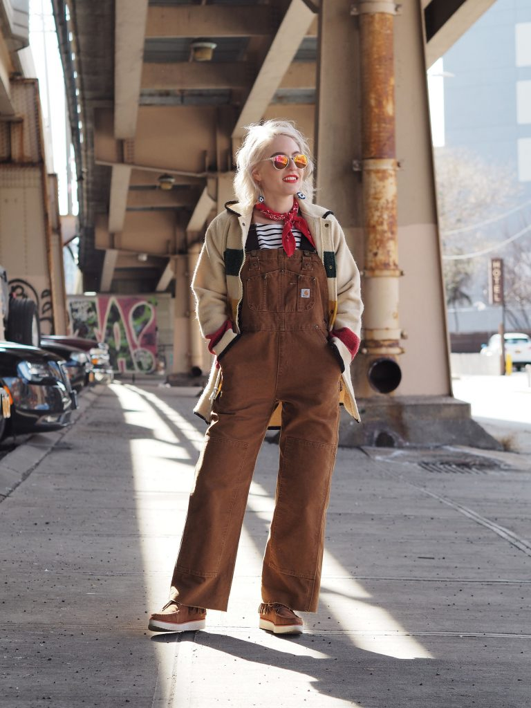 Casual weekending in Carhartt workwear overalls and vintage Woolrich