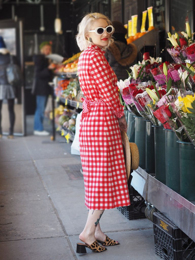 Spring has spring in this all over red gingham midi dress