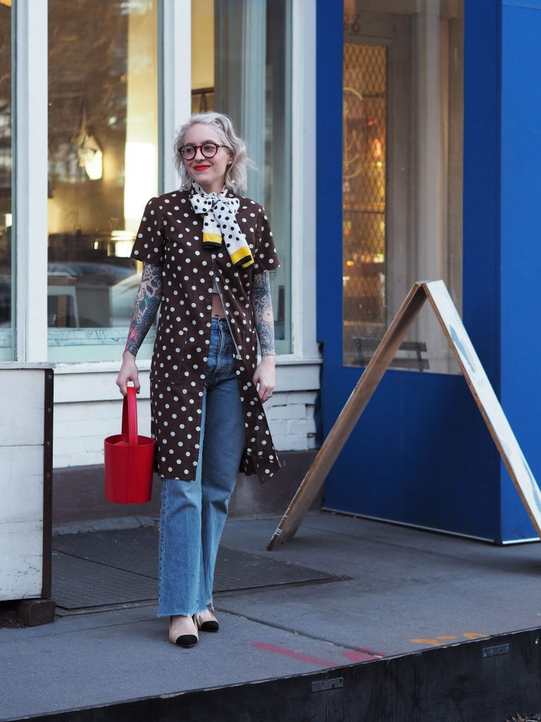 Polkadot house dress over Re/Done Jeans